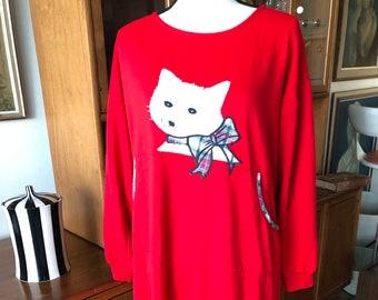 RED NIGHT SHIRT KITTY CAT PURRRFECTION DESIGN ONE SIZE RED HAT LADIES SLEEPWEAR