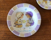 Vintage Peanut Butter Jelly Kids Child s Tea Set Dishes, Plates 70 s Retro Fun Tin Litho Collectible Dolls, Teddy Bear, Holly Hobbie Era