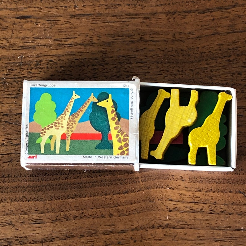 Western Germany Trees So Fun 80/'s Zoo Mini Matchbox Toy Vintage Miniature Giraffe Wooden Block Set Made by Juri So Cool Animal 70/'s