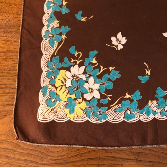 Vintage Ladies Handkerchief Brown, Blue, Yellow a… - image 6
