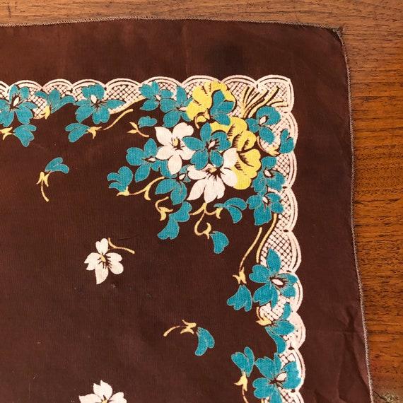 Vintage Ladies Handkerchief Brown, Blue, Yellow a… - image 3