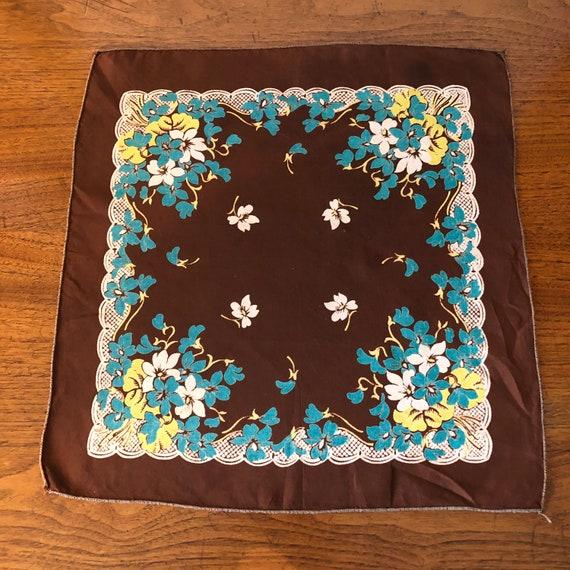 Vintage Ladies Handkerchief Brown, Blue, Yellow a… - image 5