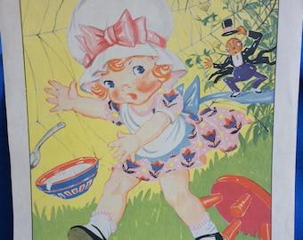 Vintage Nursery Rhyme Little Miss Muffet Children's Book Art Print 30's 40's Illustration by Ruth E. Newton