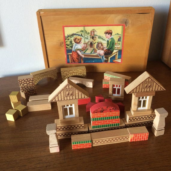 Terrific Vintage Childrens Wooden Blocks Windows Bricks For House Building With Box And Litho Paper Label Antique Toy For Boys Girls Home Interior And Landscaping Mentranervesignezvosmurscom