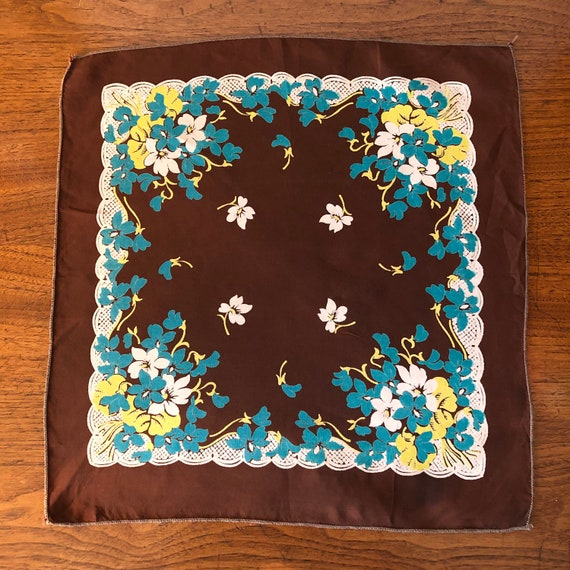 Vintage Ladies Handkerchief Brown, Blue, Yellow a… - image 1