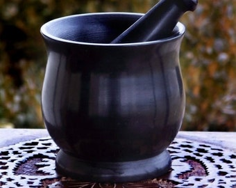 HEXE™ Large Witch's Black Cauldron Style Soapstone Mortar & Pestle - Herb Spice Incense Grinding Preparation, Kitchen Witchery, Witchcraft