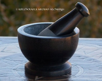ARCANE Black Soapstone Mortar & Pestle - Crafting Herb Spice Incense Grinding Preparation Tool, Kitchen Witchery, Witchcraft
