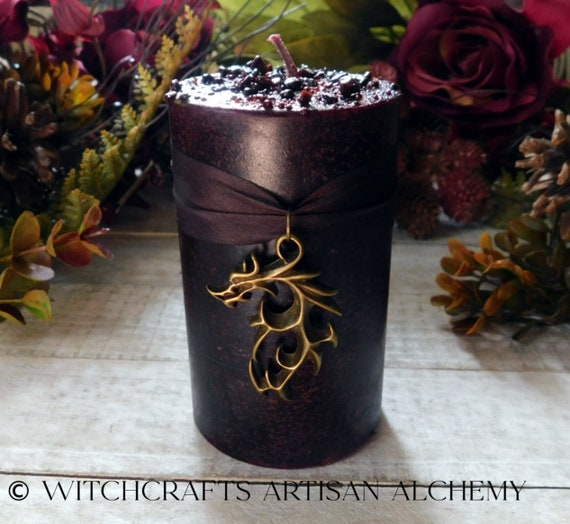 DRAGON'S BLOOD LUXE™ Dragon Charmed Deep Resin Red Brown Pillar Candle with Gold Seal Dragons Blood Resin DRAGON'S BLOOD LUXE