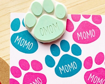 custom name rubber stamp | dog paw print stamp | cat paw print stamp | hand carved stamp by talktothesun | personalized holiday gift