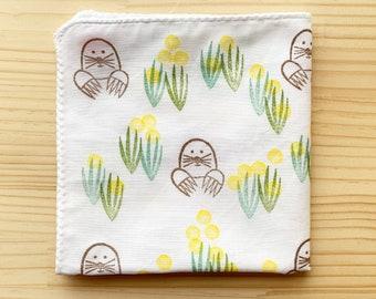 mole handkerchief   kids animal cotton hankie   reusable baby nose wipe   japanese hand towel   children face wipe   eco friendly gift