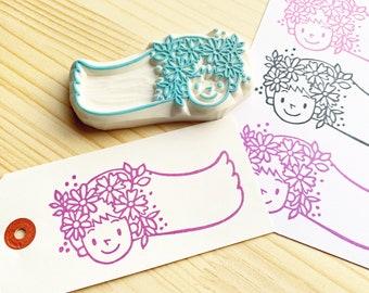 girl rubber stamp   flower princess stamp   hand carved stamp by talktothesun   stamps for card making, spring crafts, botanical birthday