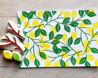 lemon rubber stamps   fruit & leaf stamps   citrus stamps   hand carved stamps by talktothesun   stamps for card making, summer crafts