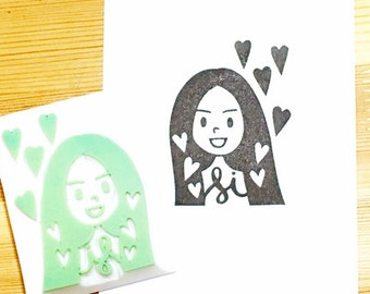 custom rubber stamp | custom illustrated portrait & custom portrait stamp | hand carved stamp | talktothesun | personalized gift