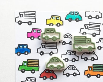 automobile rubber stamps | car & track stamp | diy birthday card making | craft gift for boys | hand carved by talktothesun | set of 3