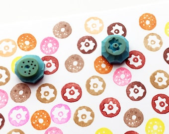 tiny donut rubber stamp set | doughnut stamps | cake | baking planners | diy birthday card making | hand carved by talktothesun | set of 2