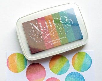 earth tone neon nijico ink pad | tukineko rainbow rubber stamp ink pad | water based non toxic pigment paper ink | embossing | scrapbooking