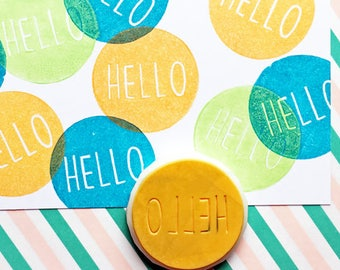 hello rubber stamp | calligraphy stamp | snail mail decor | diy card making | craft gift for her | hand carved stamp by talktothesun
