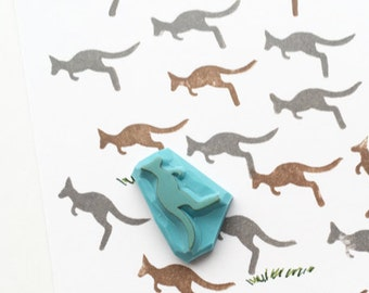 small kangaroo rubber stamp | australian animal silhouette stamp | birthday holiday card making | diy planner | hand carved by talktothesun
