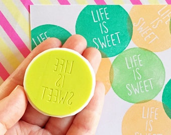 life is sweet stamp | calligraphy rubber stamp | diy birthday wedding card making | craft gift for her | hand carved by talktothesun