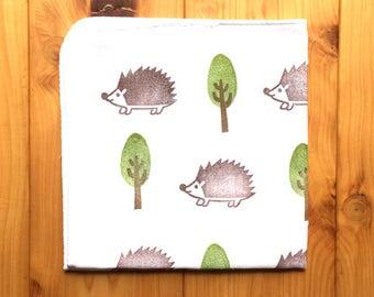 hedgehog handkerchief   japanese cotton hankie   children face wipe   baby nose wipe   reusable hand wipe   eco friendly animal lover gift