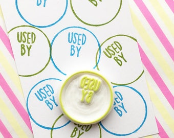 used by rubber stamp | cooking label stamp | food packaging stamp for makers | business stamp | diy stickers | hand carved by talktothesun