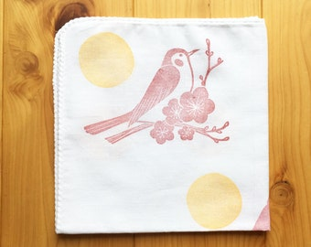 uguisu bird handkerchief   cotton hankie   reusable hand wipe   japanese hand towel   eco friendly gift   hand printed by talktothesun