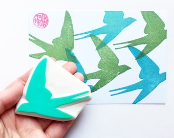 swallow stamp | bird rubber stamp | woodland animal | diy card making | wedding birthday spring crafts | hand carved by talktothesun