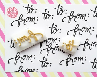from to rubber stamps | calligraphy stamp | snail mail stamp | diy gift tags | card making | gift wrapping | hand carved by talktothesun