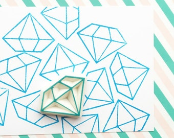 diamond rubber stamp | gemstone stamp | gem stamp | diy wedding christmas birthday gift wrapping | card making | hand carved by talktothesun