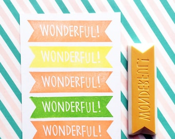 wonderful rubber stamp | motivational text stamp | ribbon hand carved stamp for diy, bullet journal, card making | gift for teachers