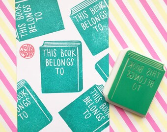 bookplate rubber stamp | this book belongs to | diy book labels | library stationery | gift for book lovers | hand carved by talktothesun