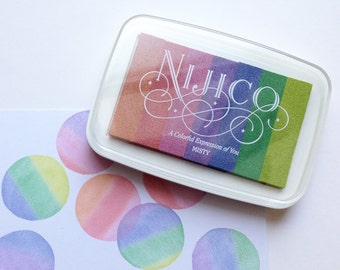 misty nijico ink pad | japanese rainbow rubber stamp ink pad | water based archival pigment paper ink | embossing | scrapbooking