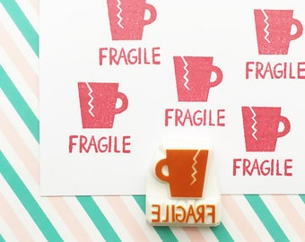 fragile rubber stamp | broken cup | snail mail stamp | diy shipping mailking packaging | office stationery | hand carved by talktothesun