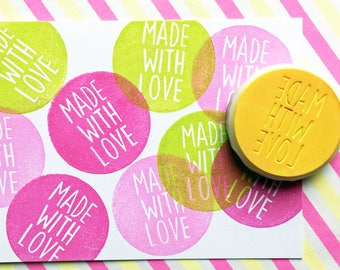 made with love rubber stamp | calligraphy word stamp | packaging and gift wrapping | gift for her | hand carved by talktothesun