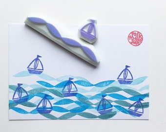 sailing boat & wave rubber stamps | yacht in ocean | diy birthday card making | summer kids crafts | hand carved by talktothesun | set of 2