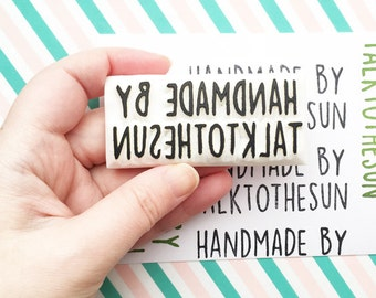 custom name rubber stamp | handmade by stamp | hand carved stamp by talktothesun | stamps for business packaging, gift wrapping