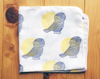 owl handkerchief   ladies cotton hankie   kids hand wipe   reusable nose wipe   baby face wipe   japanese hand towel   eco friendly gift