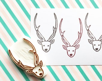 deer rubber stamp | antler stamp | woodland animal | diy christmas birthday card making | winter crafts | hand carved by talktothesun