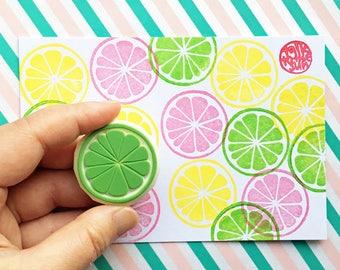 citrus slice rubber stamp | lemon lime orange grapefruit | fruit stamp | diy birthday | summer crafts | hand carved stamp by talktothesun