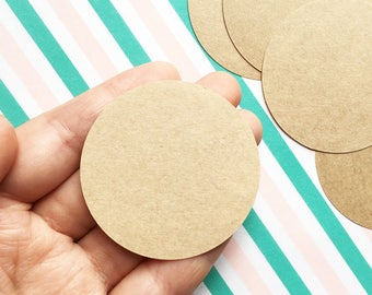 blank circle sticker set   brown craft paper label stickers for business packaging, scrapbooking, junk journal, gift wrapping   set of 25