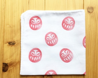 daruma doll handkerchief   japanese hand towel   cotton hankie   reusable nose wipe   children face wipe   eco friendly gift   talktothesun