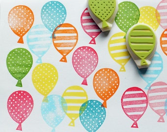 party balloon rubber stamps   hand carved stamps by talktothesun   stamps for card making, journaling, diy birthday   gift for kids
