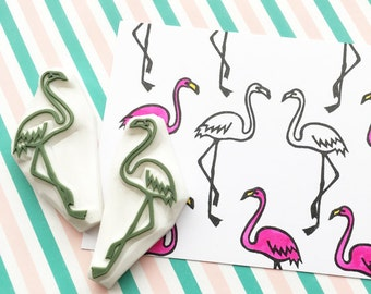 flamingo rubber stamps | love birds | african animal stamp | wedding anniversary scrapbooking | diy | hand carved by talktothesun | set of 2