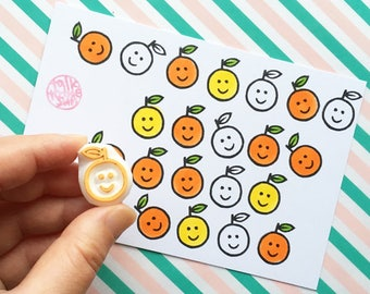 smiley orange rubber stamp | fruit stamp for teachers & kids | planner stamp | diy thank you notes | hand carved by talktothesun