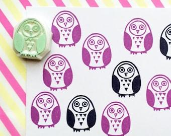 owl rubber stamp   bird stamp   woodland animal stamp   hand carved stamp by talktothesun   stamp for card making, journaling, winter crafts
