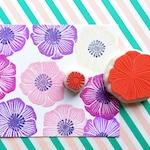 anemone flower rubber stamps | wildflower hand carved stamp | diy botanical wedding & birthday craft + art journaling