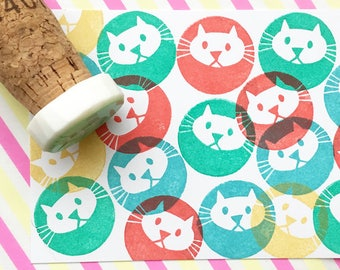 cat stamp | animal rubber stamp | diy birthday baby shower card making | cat stationery | cat lover gift | hand carved stamp by talktothesun