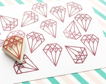small diamond rubber stamp | gemstone rubber stamp | wedding birthday scrapbooking | diy planner | hand carved by talktothesun. no2