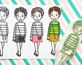 girl rubber stamp   fashion stamp   hand carved stamp by talktothesun   stamp for card making, journaling, diy birthday   gift for her