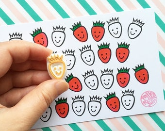 smiley strawberry rubber stamp for kids | spring fruit berry stamp | diy planner | birthday scrapbooking | hand carved by talktothesun